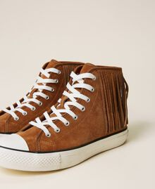 Ledersneaker mit Fransen Leder Frau 212TCP100-03