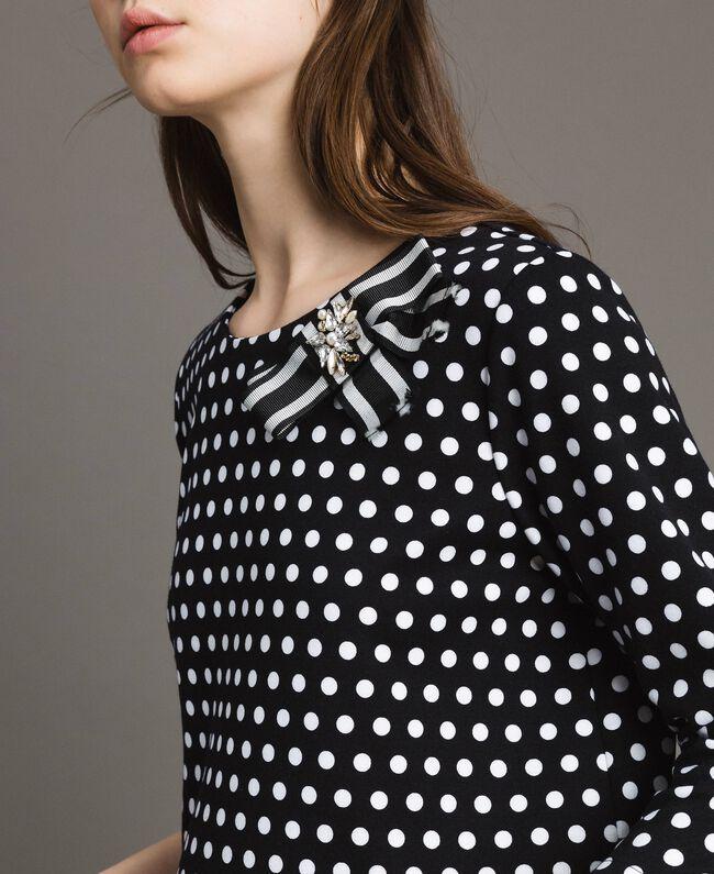 Blouse à pois avec broche nœud Bicolore Noir / Blanc Femme 191MP2363-04