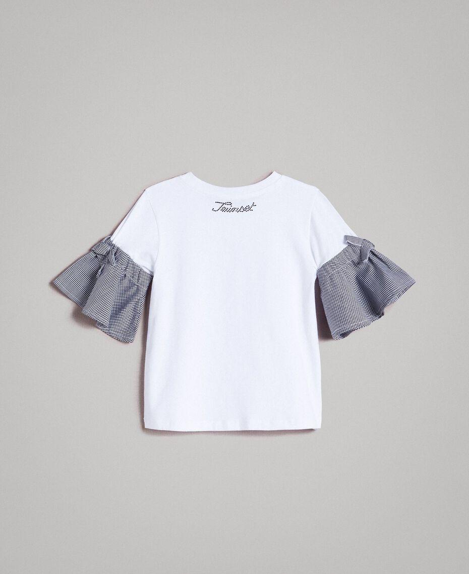 Maxi T-shirt in jersey con maniche Vichy Bicolore Bianco Ottico / Vichy Bambina 191GB2730-0S
