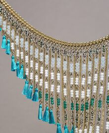 Necklace with beaded fringes Tile Blue Woman 191TO5340-02