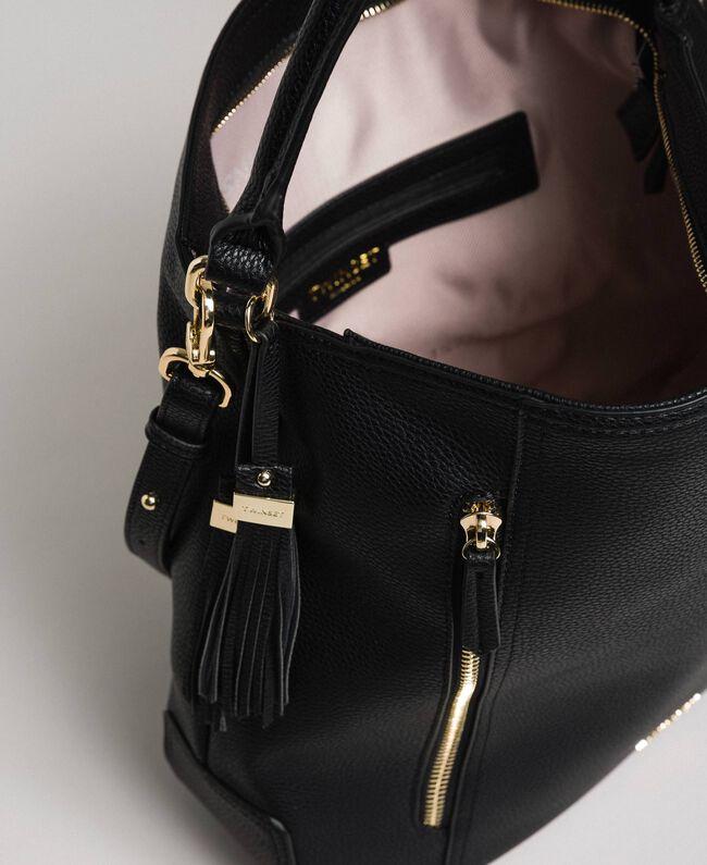 Sac hobo en similicuir avec pompons décoratifs Noir Femme 192TA7142-05