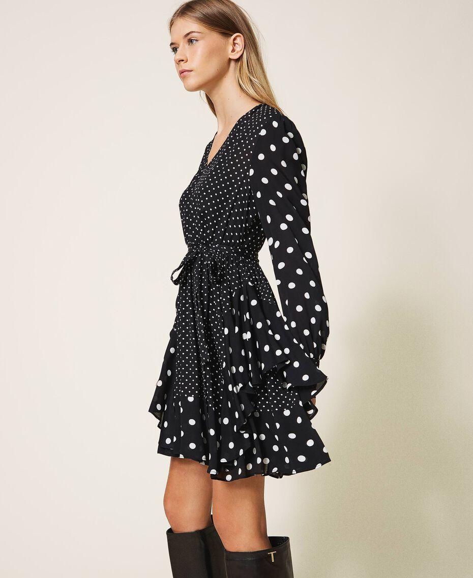 """Polka dot crêpe de Chine dress Black / """"Snow"""" White Polka Dot Patch Woman 202TT2311-02"""