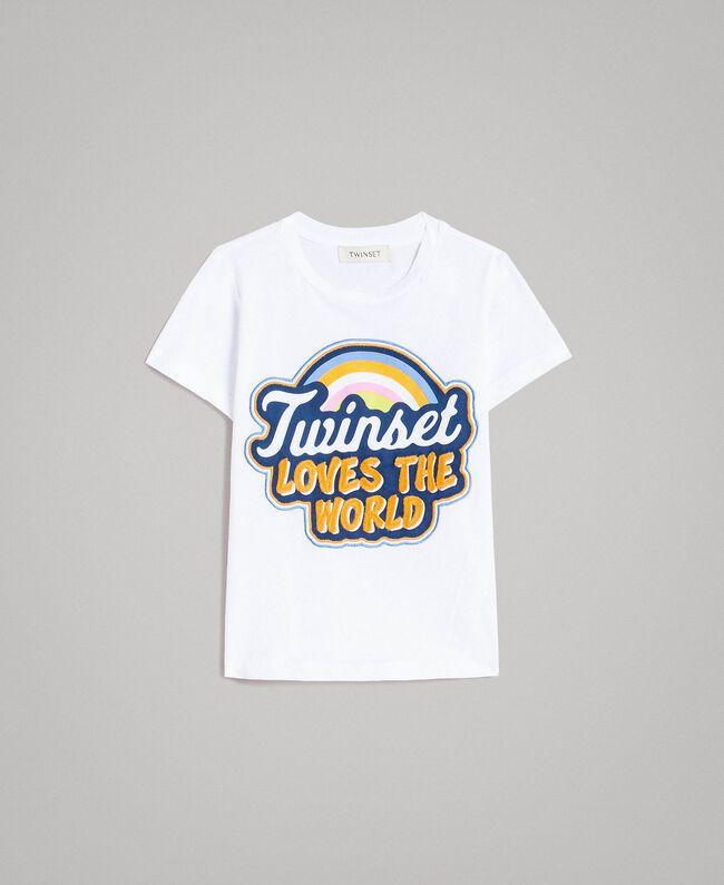T-Shirt aus Baumwolle mit mehrfarbigem Aufdruck Weiß Kind 191GJ2320-01