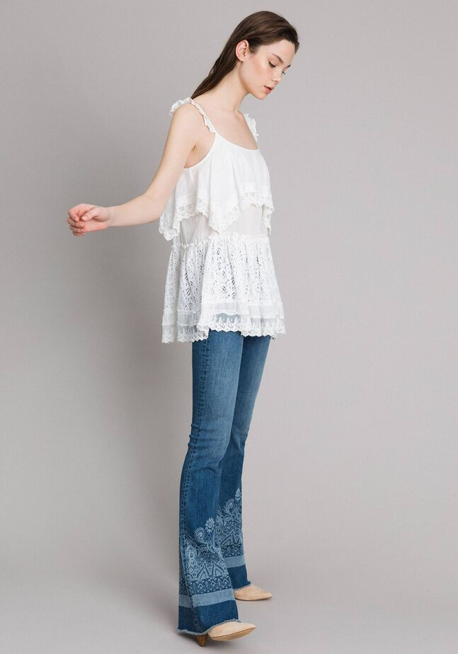 Embroidery and lace top