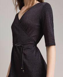 Lurex long dress with slit Black Woman 191LB23EE-04