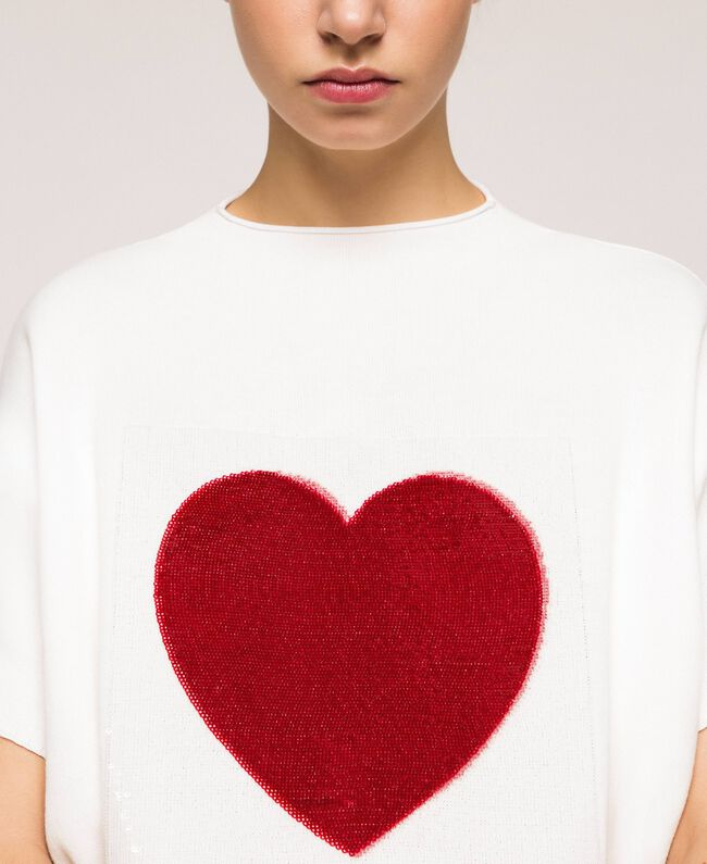 """Heart shaped jumper with heart and sequins Two-tone Lily / """"Venetian"""" Red Woman 201MP3120-01"""