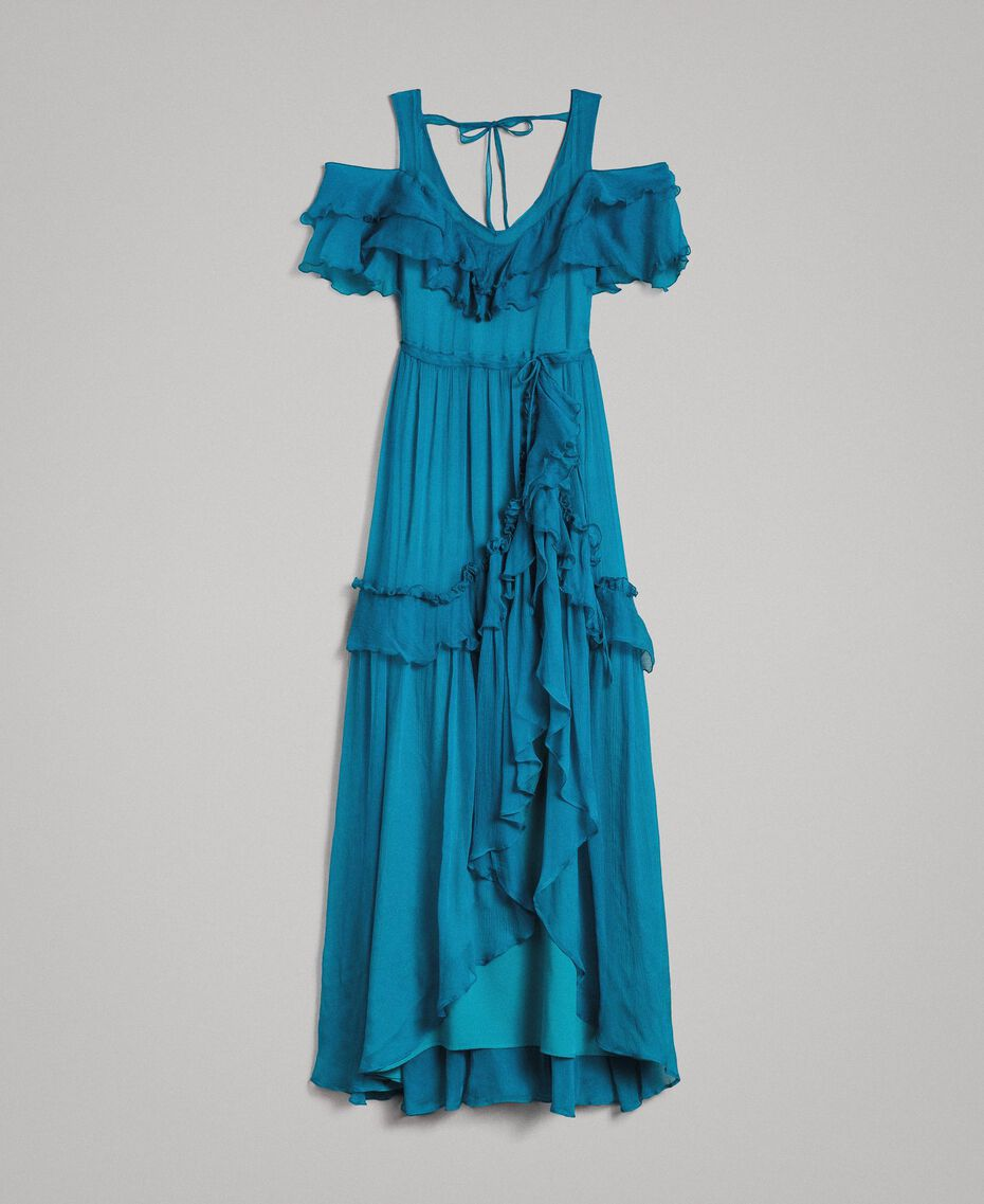 Silk crepon long dress with flounces Tile Blue Woman 191TT2423-0S