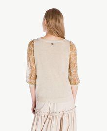 Pullover mit Print Hellglänzendes Dünenbeige Frau TS834D-03