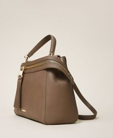 Large faux leather New Cécile bag Turtledove Woman 202TB7180-02
