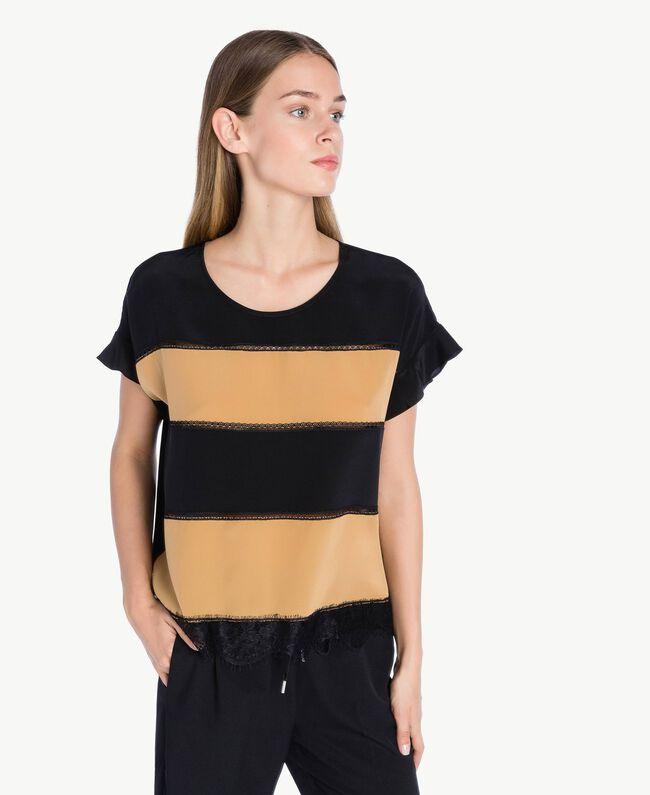 Bluse aus Seide Honigbeige / Schwarz PA72FN-01