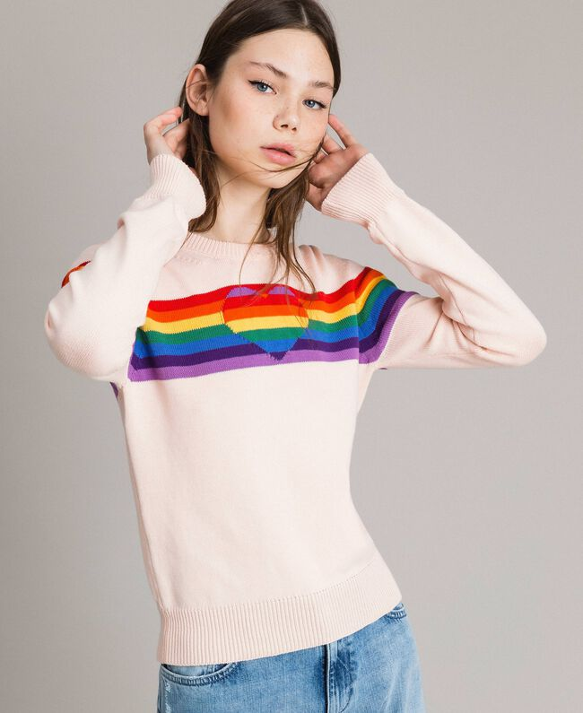 Multicolour stripes and inlay heart top Bud Pink Woman 191TP3011-01