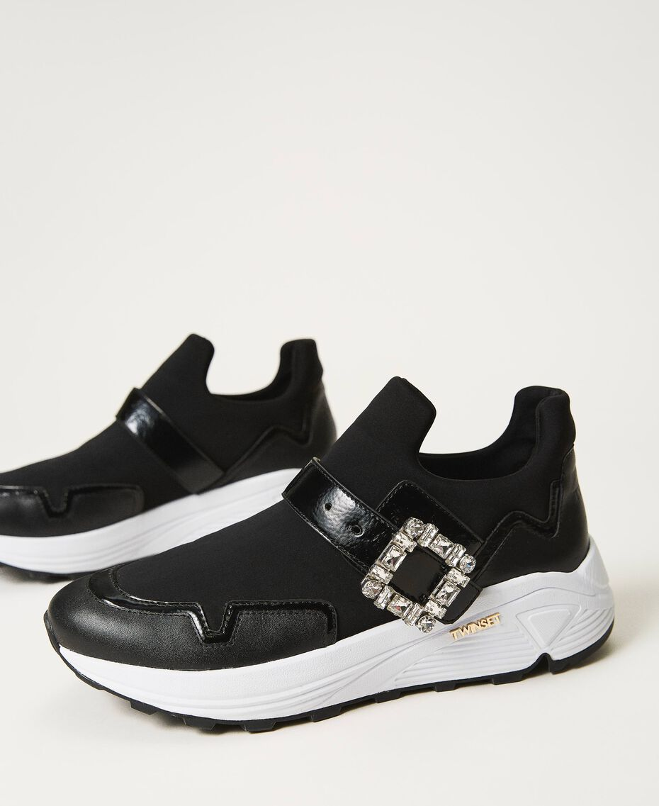 Running shoes with jewel buckle Black Woman 202TCP012-02