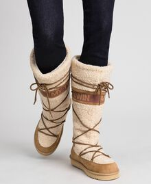 Faux fur boots with tie-up laces and logo Irish Cream Hazelnut Woman 192MCT180-0S
