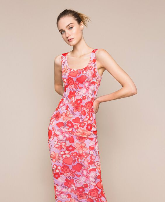 Floral tulle sheath dress