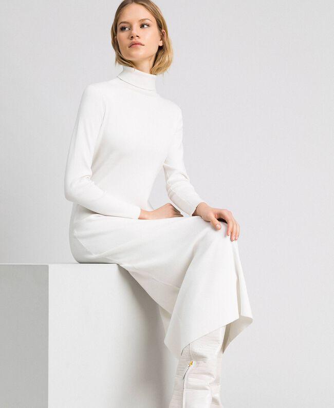 Robe longue en maille Blanc Vanille Femme 192MT3014-04