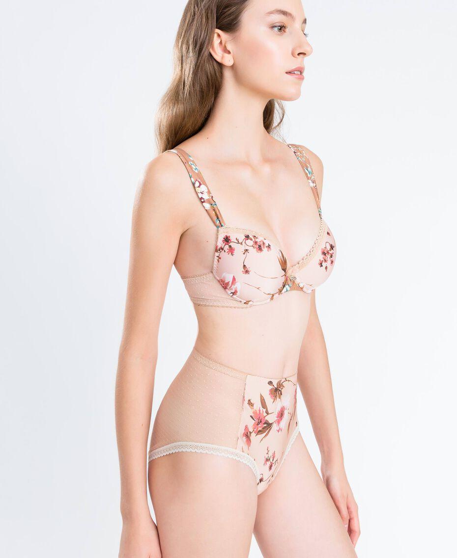 Slip taille haute imprimé floral Imprimé Mélange Fleurs Rose Ballerines Femme IA8E99-02