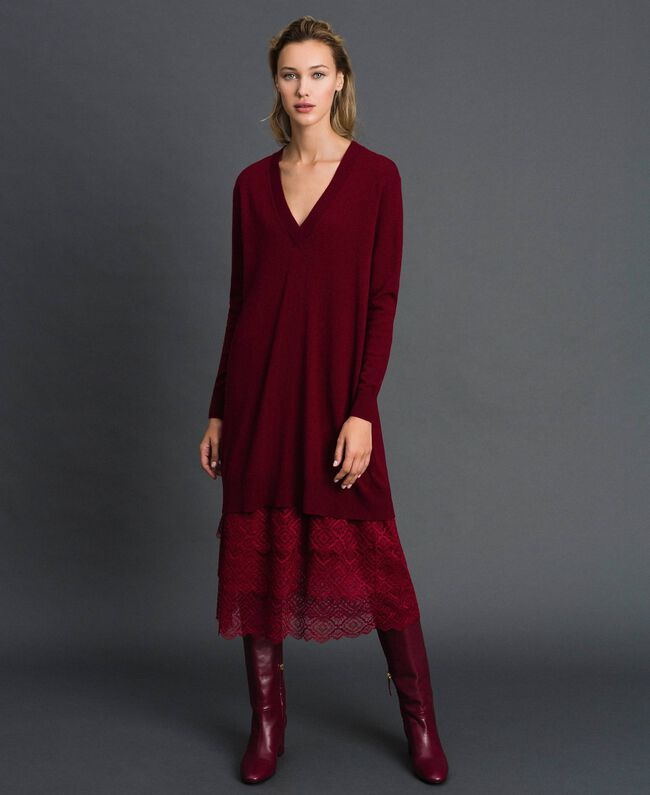 Knit dress with crêpe and lace slip Red Velvet Woman 192TT3084-01