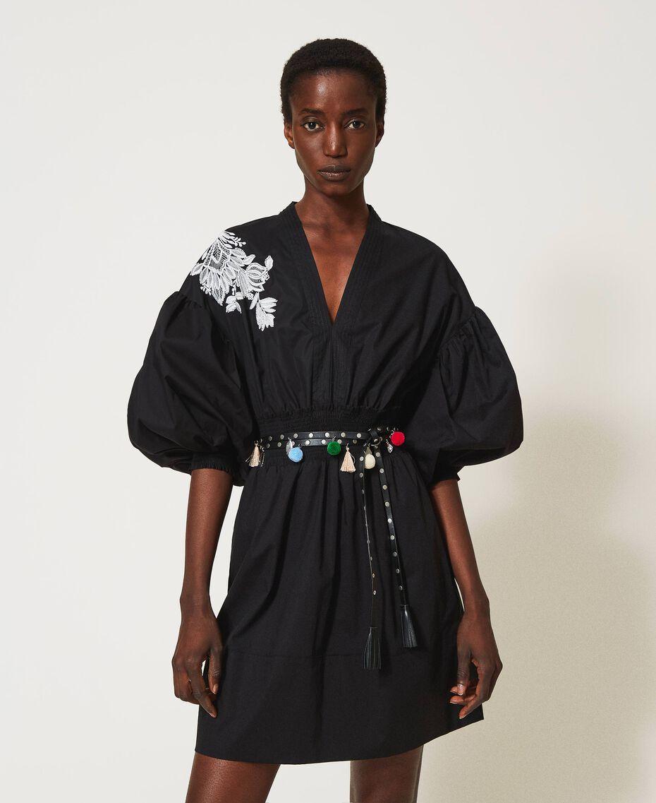 Cinturón con tachuelas y pendientes Negro Mujer 211TO5069-0S