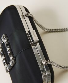 Clutch with jewel buckle and shoulder strap Black Woman 202TB7063-01