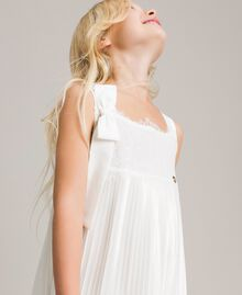 Pleated georgette and lace dress Off White Child 191GJ2QA2-05