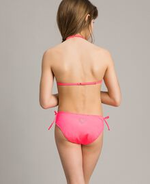 Triangle bikini with rhinestones Fluorescent Pink Child 191GJM904-02