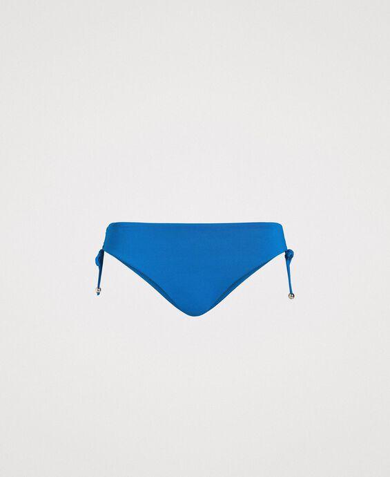 Einfarbige Bikinihose mit Tunnelzug