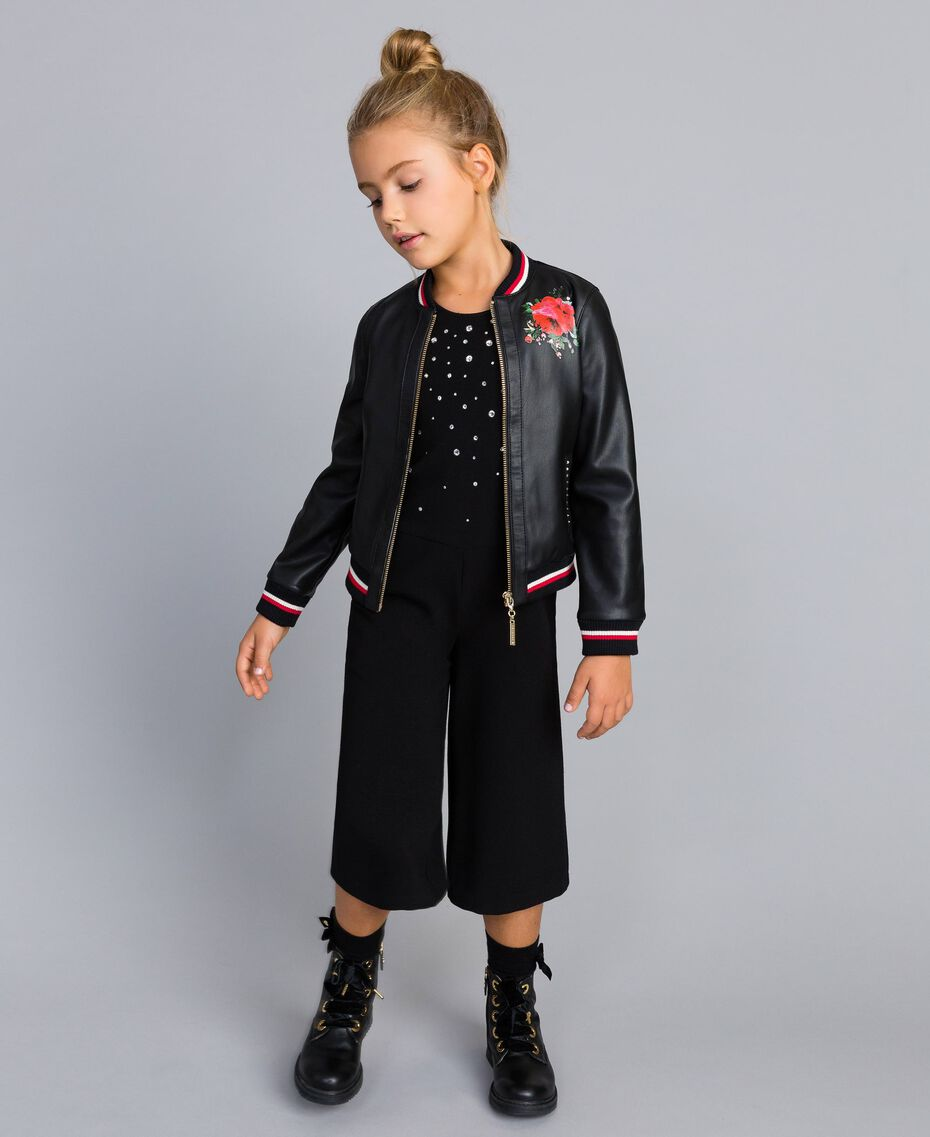 "Embroidered faux leather jacket Bicolour Black / ""Poppy"" Red Child GA82B1-0T"