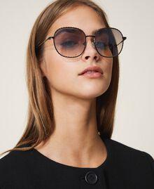 Runde Sonnenbrille Gold Gelb Frau 999TZ4013-0T