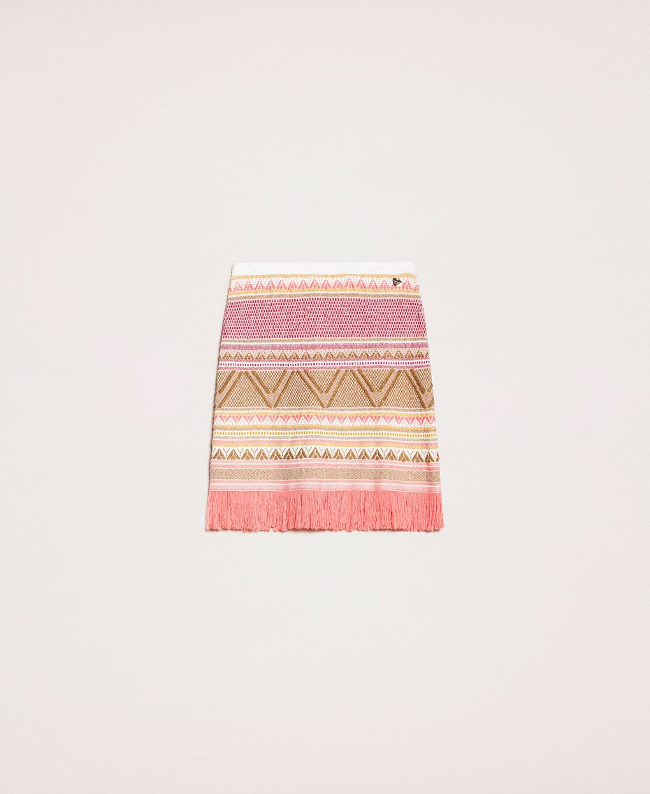 Short skirt with fringes Multicolour Pink Jacquard Woman 201TT3163-0S