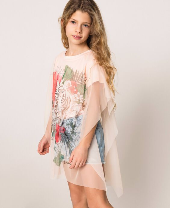 Printed maxi T-shirt with tulle