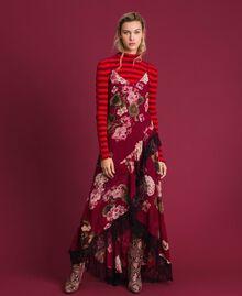 Abito sottoveste in creponne con stampa a fiori Stampa Rosso Beet Geranio Donna 192TP2727-0T