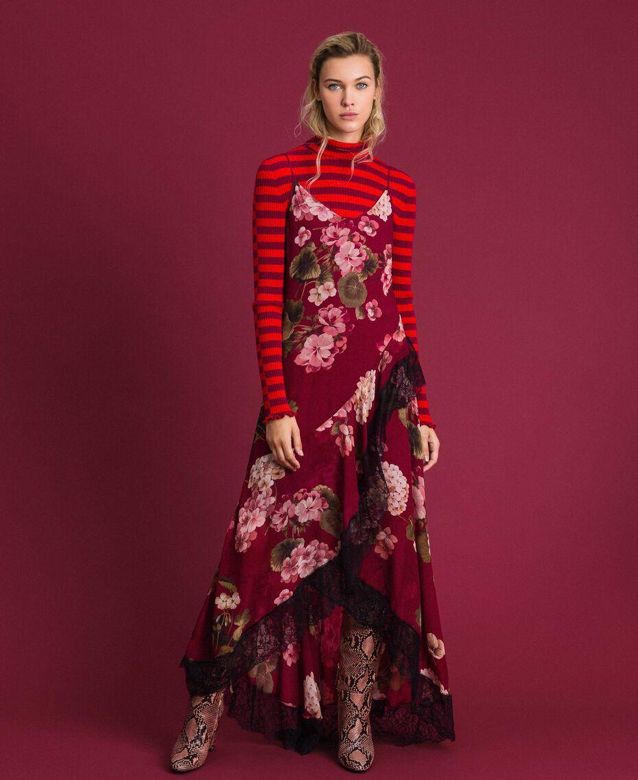 Robe nuisette en crépon avec imprimé floral Imprimé Rouge Betterave Géranium Femme 192TP2727-0T