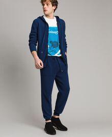 Sweat shirt à capuche en maille de coton mélangé Bleu Blackout Homme 191UT3080-05