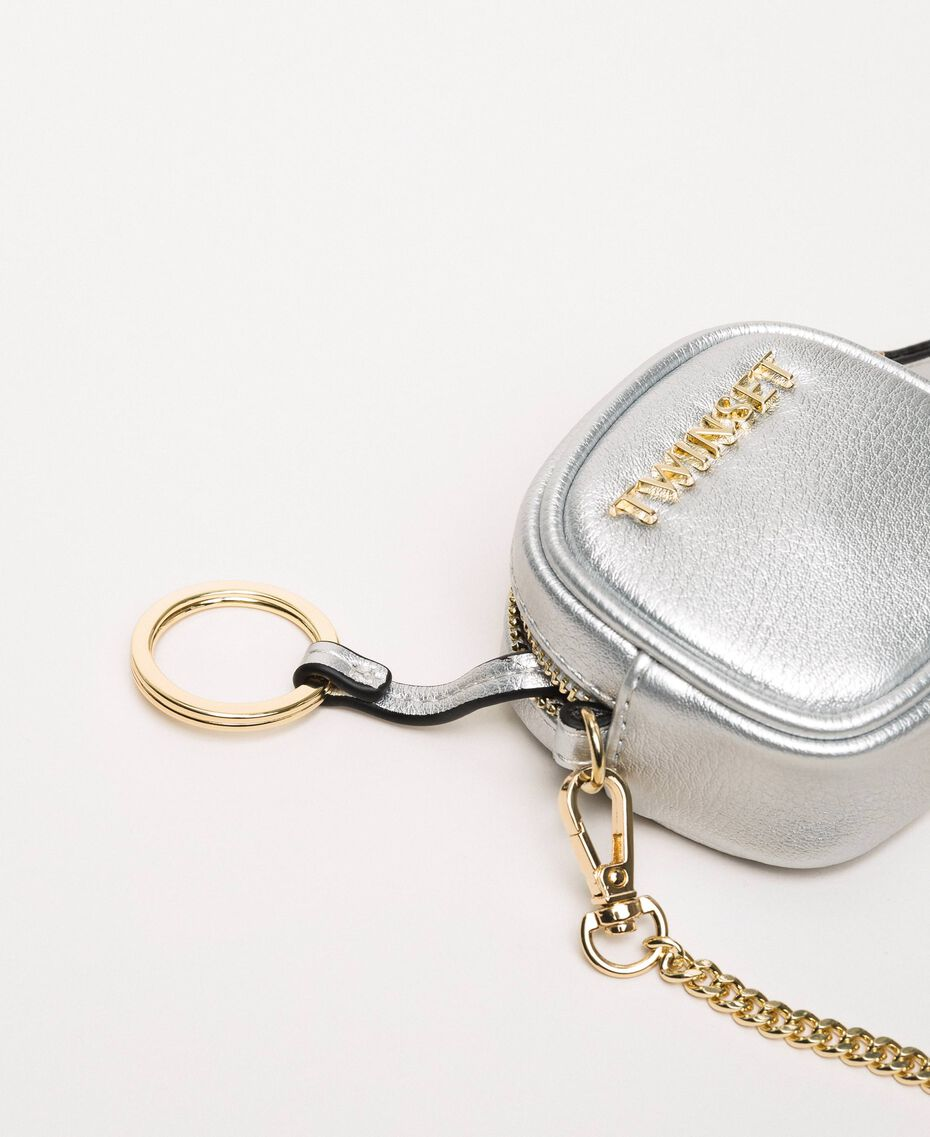 Faux leather keyring with chain Titanium Gray Woman 201TA7167-02