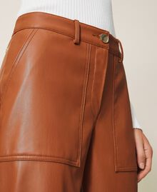 Pantalon cropped en similicuir Bleu Blackout Femme 202LI2GAA-05