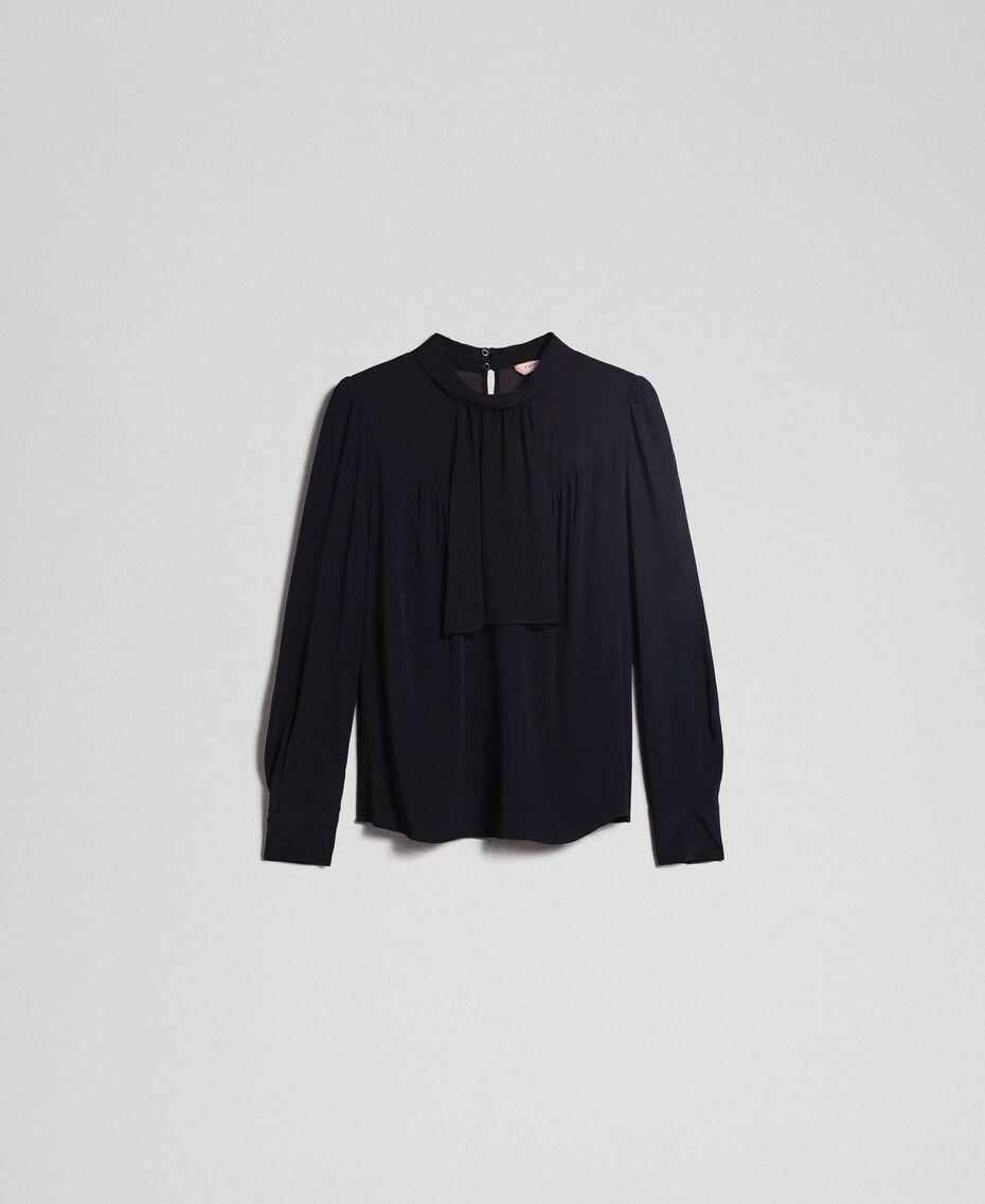 Blusa in crêpe de Chine e georgette Nero Donna 192TT2430-0S