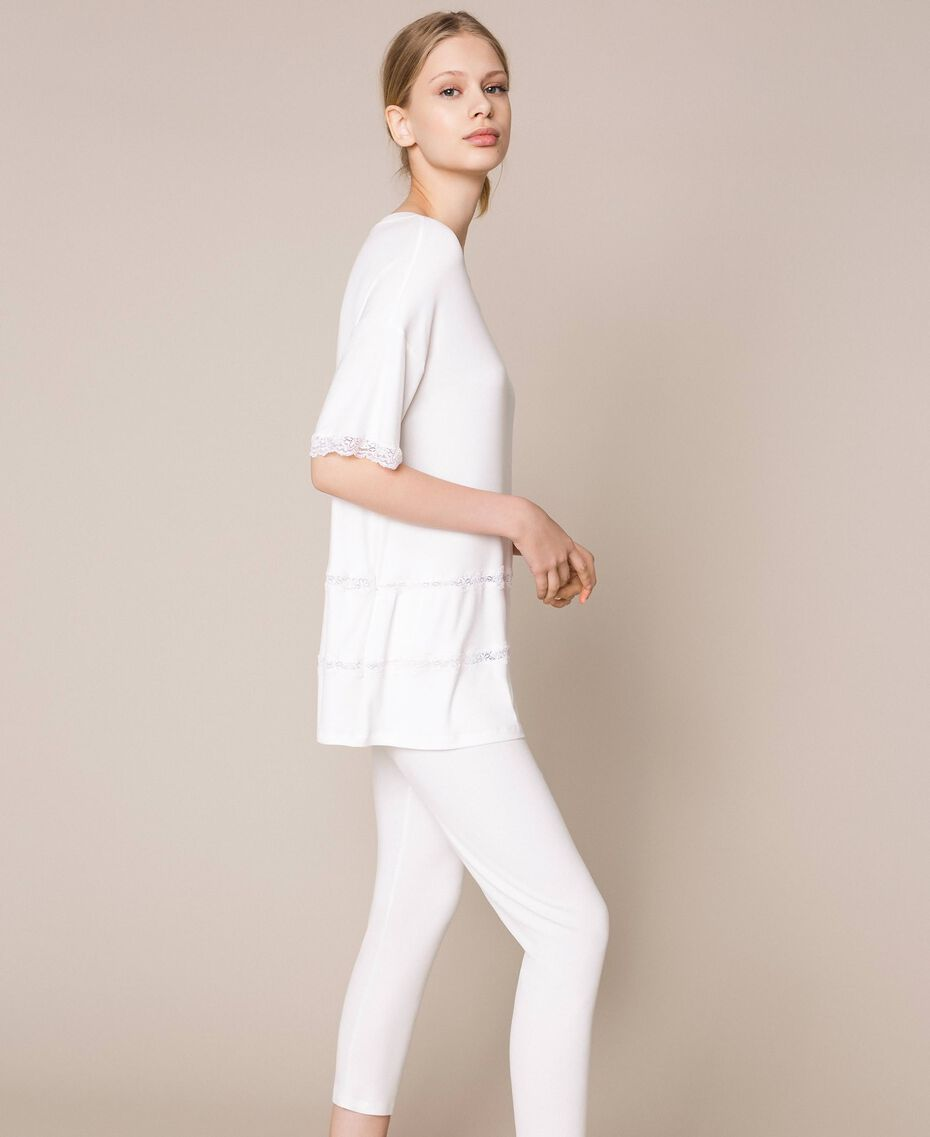 Ribbed pyjamas with lace Ivory Woman 201LL25BB-02