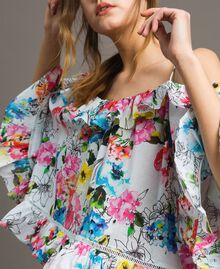 Floral print blouse with flounce All Over Optical White Multicolour Flowers Print Woman 191MT2291-04
