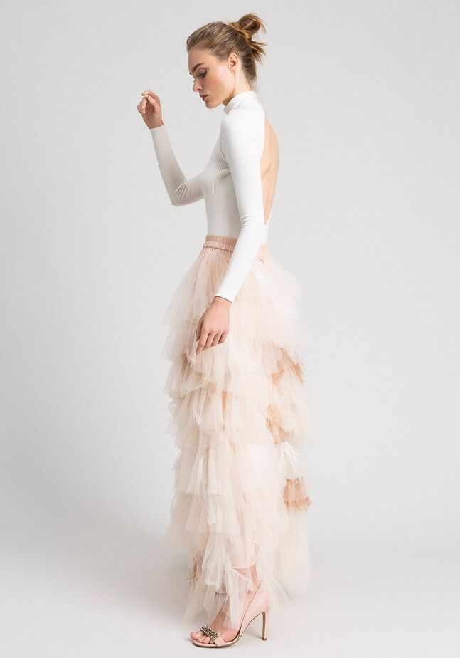 Long tulle skirt with flounces and feathers
