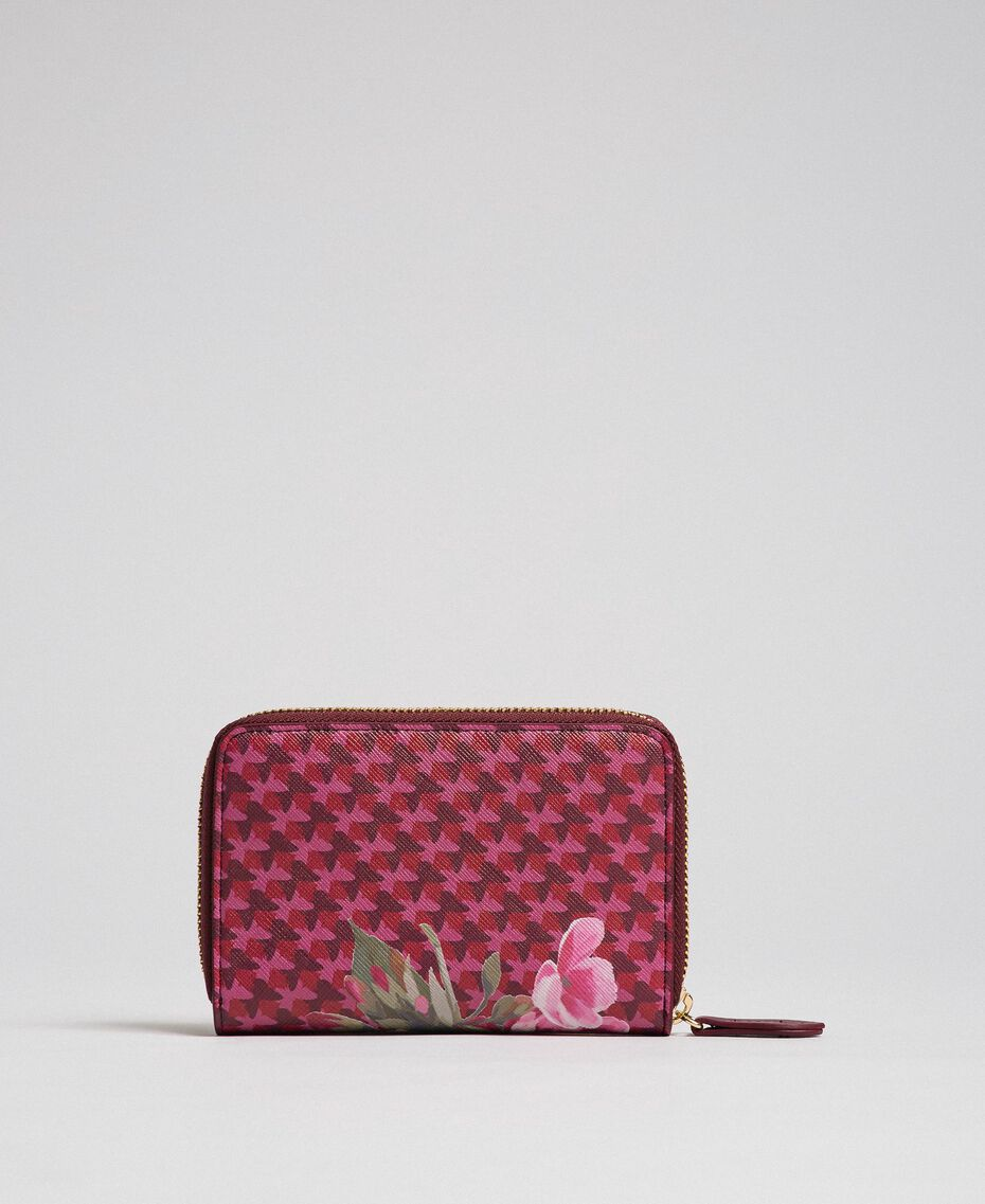 Small printed faux leather wallet Beet Red Butterfly Floral Print Woman 192TA701A-02