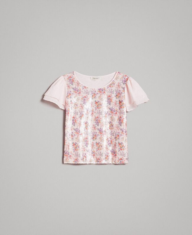 T-Shirt aus Jerseystoff mit aufgedruckten Pailletten Blütenrosa Kind 191GJ2660-01