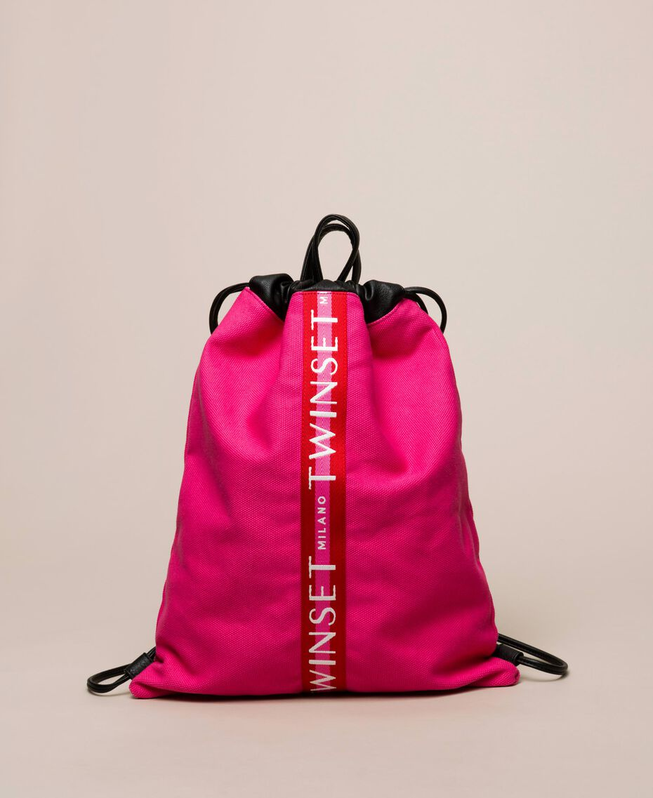 Canvas sackpack with logo Black Woman 201TO8101-02