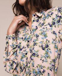 "Floral crêpe de Chine shirt ""Quartz"" Pink Flowered Print Woman 201MP2375-05"