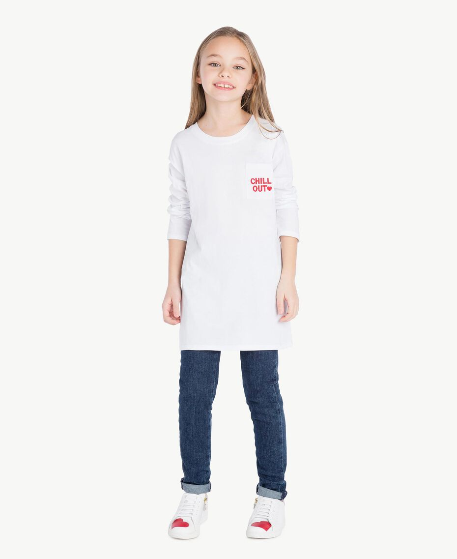 """Maxi T-shirt with pocket Two-tone """"Papyrus"""" White / Pomegranate Red Child GS82KB-02"""