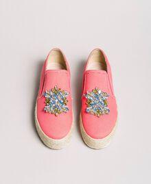 Chaussures slip-on en toile avec pierres Rose Camélie Femme 191MCP038-05