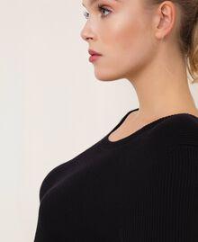 Robe fourreau côtelée avec dentelle Noir Femme 201TP3120-03