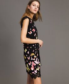 Patterned knit dress Black Butterfly Print Woman 191TT3180-02