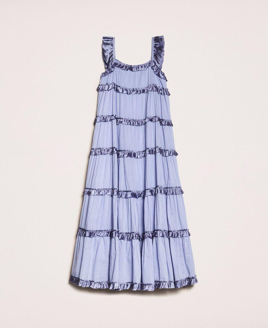 "Full-length muslin and satin gown ""Ice"" Dark Blue Child 201GJ2Q40-0S"