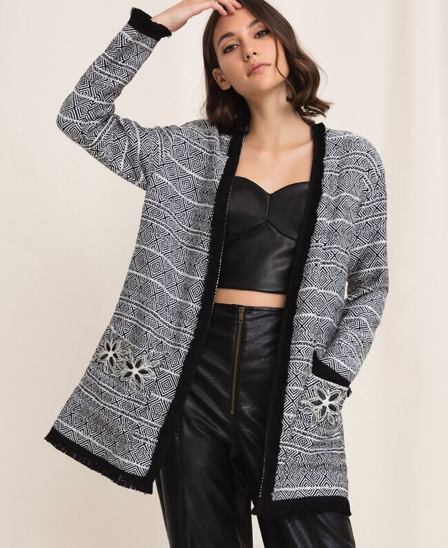 Long tweed jacket with embroidery Black Woman 201LB23BB-03
