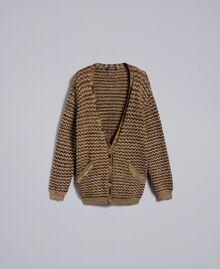 Jacquard lurex cardigan Camel Gold Lurex Jacquard Woman PA835B-0S